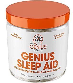 Genius Sleep AID – Smart Sleeping Pills & Adrenal Fatigue Supplement Natural Stress Anxiety & Insomnia Relief - Relaxation Enhancer and Mood Support w/Inositol L-Theanine & Glycine – 40 Capsules