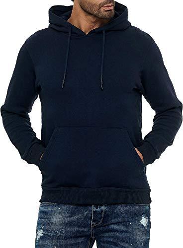 Smith & Solo Herren Kapuzenpullover – Sweatshirt Pullover Rundhals – Langarm – Slim – Fit – Training – Hoodie – Pulli – Hochwertige Baumwollmischung Männer, Navykapuze, M