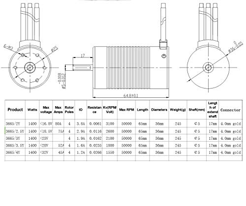 ACHICOO SUR-Pass Hobby Platinum Serie 3665 2600KV / 3100KV Bürstenloser Motor für 1/10 RC-Auto Trax-xas 1/10 LKW 3100KV