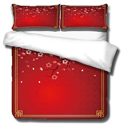 KAOLWY Superking Duvet Covers 220x260cm Red Plum,Print Duvet Cover Soft Skin-Friendly Quilt Cover Easy Care Machine Washable,With Zipper Closure Includes 2 Pillowcases
