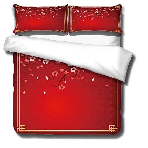 ZCCBF Funda nórdica 140 x 200 cm -Ciruelo Rojo- Funda nórdica mullida y cálida Lavable en la Lavadora con Cierre de Cremallera y 2 Fundas de Almohada a Juego