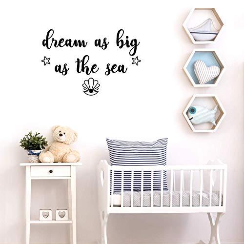 Ajcwhml Cute Quotes Dream Big as Sea Pegatinas de Pared Pegatinas de Pared Niños Decoración de la habitación Accesorios Pared