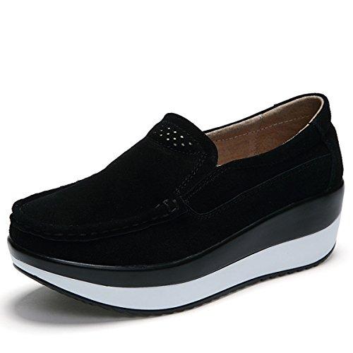 Gracosy Mocasines de Mujer Cuña de Cuero Plataforma Informal Zapatos de Gamuza...