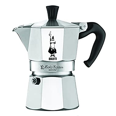 The Original Bialetti Moka Express Made in Italy 3-Cup Stovetop Espresso Maker with Patented Valve