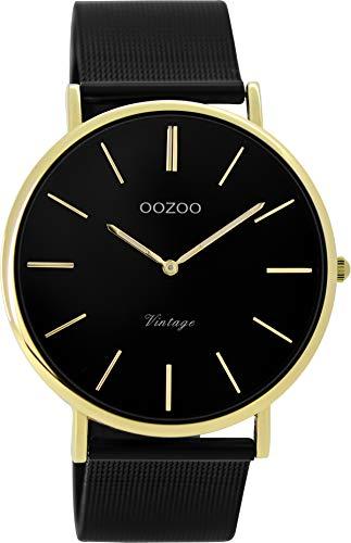 Oozoo Vintage Damenuhr mit Milanaise Edelstahlband Flach 40 MM Schwarz/Goldfarben C9893