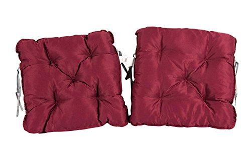 Meerweh 2er Set Auflage für Sessel Nordisches Design Sitzpolster Sitzkissen, Rot, 50 x 50 x 10 cm