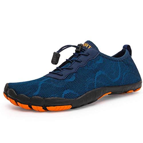 Dannto Hombre Mujer Zapatos de Agua para Hombre Surf Escarpines Playa Natación Respirable Antideslizante Playa Natación Aire Libre Zapatos de Agua para Vela,Kayak,Buceo(Azul-B,45)