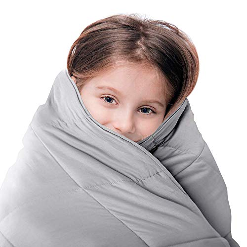 LUNA Weighted Blanket (10 lbs - 41x60 - Twin Size) - Oeko-Tex Cooling Cotton & Premium Glass Beads - Designed in USA - Heavy Cool Weighted Blanket for Hot & Cold Sleepers - Kids or Adult - Grey