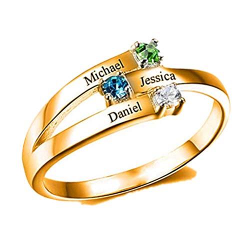 Yanday Anillo de Promesa Personalizado Grabado 3 Nombres con Anillos de Piedra Natal para Mujeres(Oro 20.25)