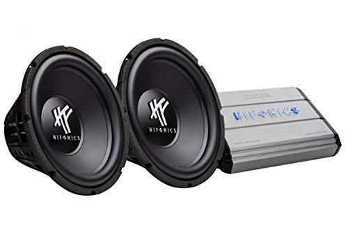 Hifonics Amp & Subwoofer Bundle (1 Amp, 2 Subs) - Hifonics Zeus ZXX-1800.1D Mono Channel Car Audio Amplifier (Class D, 1800 Watt) & 2 Hifonics HFX12D4BK 12 Inch Subwoofers (Dual 4 Ohm, Voice Coil Sub)