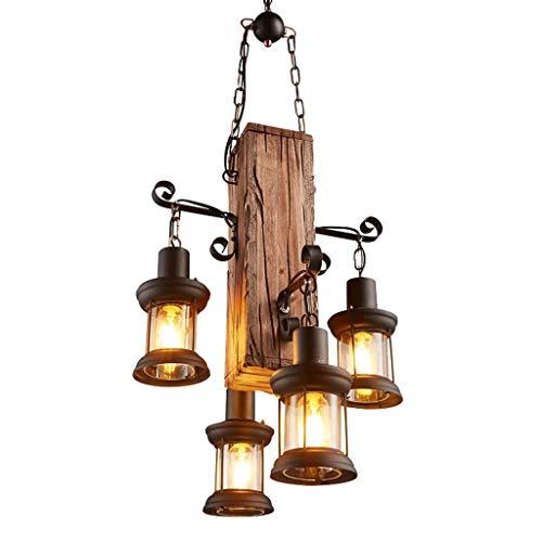 DFJU Lámpara Colgante Vintage, lámpara Colgante de Madera de Hierro Retro Lámpara Colgante Retro E27 * 2/3/4 Cabezas, araña de Cristal, Sala de Estar Vintage, Dormitorio, lámpara Colgante Antigua