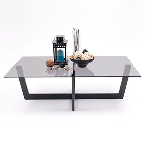 Homely Mesa de Centro ARAC Cristal Fume Gris y Estructura de Acero Negro 120x70 cm