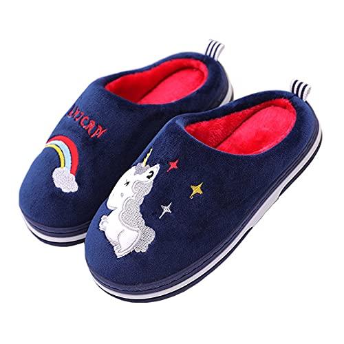 Zapatillas de Estar por casa para Niña niño Pantuflas Invierno Interior Dormitorio Suave Casa Caliente Zapatos Antideslizantes Peluche Slippers, Unicornio Azul Rojo, Talla (34/35 EU=35/36 CN)