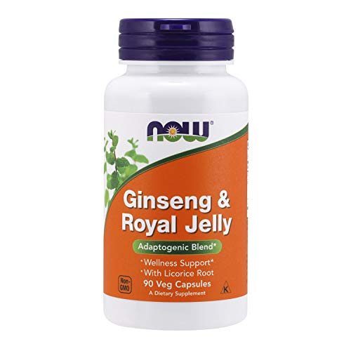 NOW Supplements, Ginseng & Royal Jelly with Licorice Root, Adaptogenic Blend*, 90 Capsules