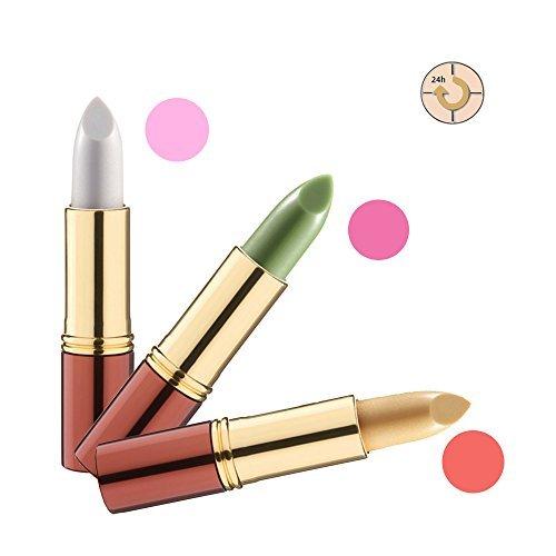 IKOS Lippenstift 3er Set: der denkende Lippenstift weiß/perlmuttrosa + grün/nachtrosa + gelb/apricot