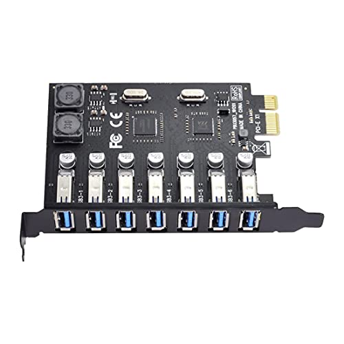 ChenYang CY PCI-E x1 a 7 Pz Porte USB 3.0 HUB PCIE Express Scheda di Espansione Adattatore 5Gbps per Scheda Madre