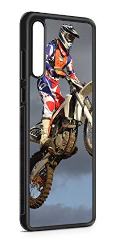 aina Kompatibel mit Samsung Galaxy A41 Silikon Hülle Handyhülle Flexibles Slim Hülle Cross Motorrad Motiv Bild Schwarz