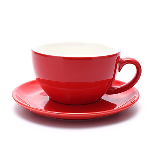 Coffeezone Cappuccino Barista Cup Latte Art Cup and Saucer, 3 Capacity to Choose, New Bone China for Coffee Shop (Glossy Red, 10.5 oz)