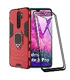 XIFAN Funda para Xiaomi Redmi Note 8 Pro, [Robusto] Anillo Metálico Soporte [Funciona con El Montaje De Coche Magnético] Case Carcasa, Rojo + 2 Piezas Protector de Pantalla