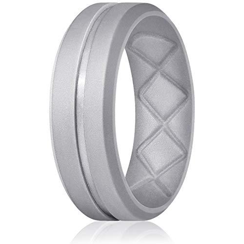 Egnaro Inner Arc Ergonomic Breathable Design,Silicone Rings for Men, 7 Rings / 4 Rings / 1 Ring-Breathable Rubber Wedding Bands