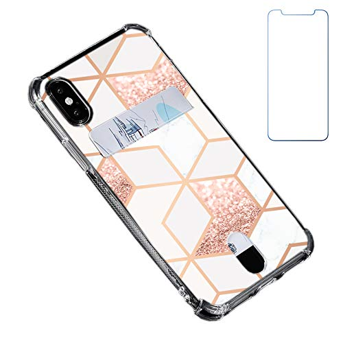 """Oddss Case Compatible for iPhone Xs/X 10(5.8"""") with Card Holder Slot Ultra-Slim Thin Soft TPU Clear Cover Compatible for iPhone XS/X/10 with Screen Protector (Rose Gold White Marble)"""