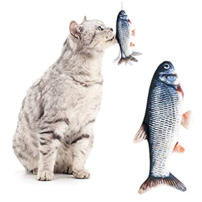 Yidarton Realistic Plush Simulation Electric Doll Fish Funny Interactive Pets Chew Bite Supplies for Cat Kitty Kitten Fish Flop Cat Toy Catnip Toys - Perfect for Biting, Chewing and Kicking