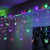 FENSIN LED Lichterketten Schmetterling LED-Fadenvorhang beleuchtet bunte Hochzeits-Kinderzimmer-Dekor-Lampefür Wohnkultur Party Ornament