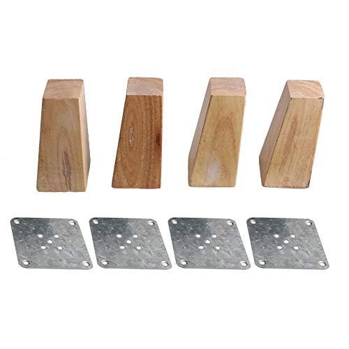 BQLZR 12 cm en bois meubles Armoire Pieds carrés de remplacement avec installation Semelle Fer à Repasser Lot de 4