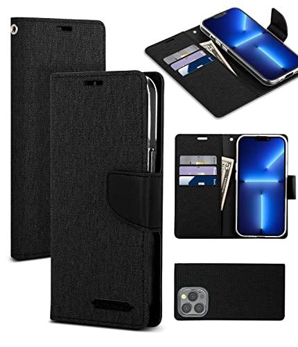 Goospery Billetera Canvas Compatible con Funda para iPhone 13 Pro, Tiene un Elegante diseño de Tela Vaquera con función de pie, portatarjetas y Carcasa Cartera abatible para el teléfono (Negro)