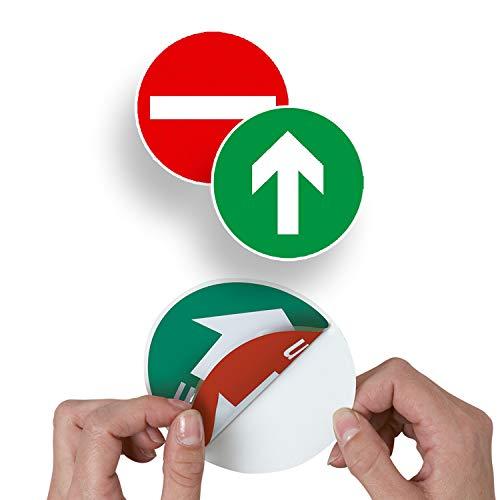 Betriebsausstattung24® Türschild Ziehen & Drücken | zweiseitig Bedruckt | selbstklebend | PVC-Folie (Symbol Eingang & Ausgang, Ø 6,0 cm)