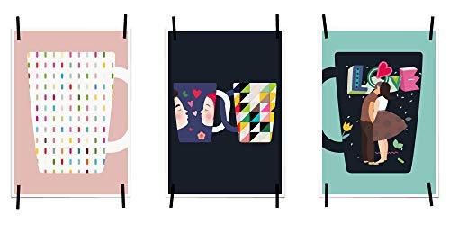myprinti® Keukenafbeeldingen, posters, foto's voor de keuken, keukenposter, kunstdruk, moderne wanddecoratie, keuken decoratie, koffiekopje, koffiekopje met patroon, Love