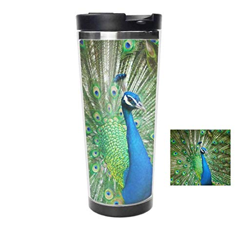 Travel Tumbler - Peacock Feather Stainless Steel Vacuum Travel Mug,coffee mug & cup - Thermal Cup with Splash Proof Sliding Lid 18oz -  wojuedehuidamai6