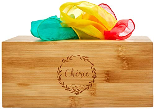 Organic Wooden Baby Tissue Box Toy with 6 Colorful Eco-Friendly Scarves