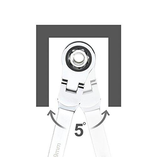 Neiko 03114A Flex-Head Double Box End Ratcheting Wrenches, Chrome Vanadium Steel | Extra Long Design | 5-Piece Set | Metric 8mm - 19mm