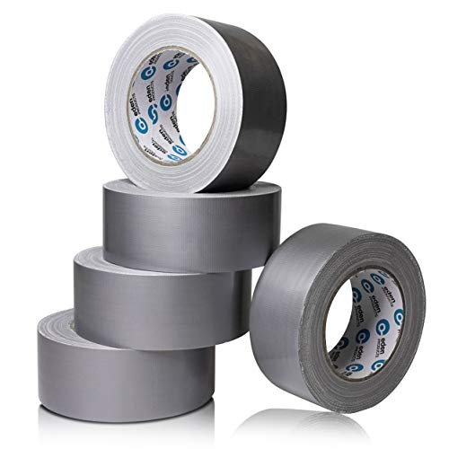 EdenProducts Heavy Duty Industrial Silver/Gray Duct Tape - 5 Roll Multi Pack - 30 Yards x 2 Inch Wide, Extra Thick & Strong Bulk Value, All Weather for Indoor/Outdoor, No Residue, Tear by Hand