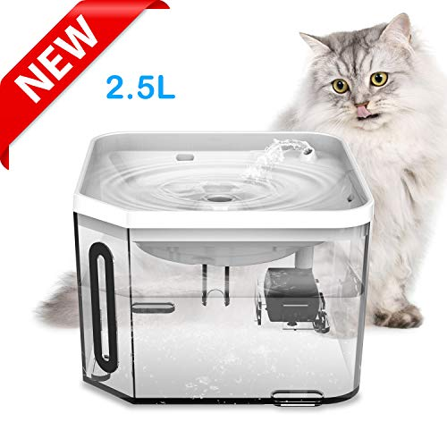UNIWILAND Cat Dog Water Fountain 2.5L Automatic Pet Drinking Water Dispenser Super Quiet Transparent Healthy and Hygienic Water Bowl with Removable Washable Pump and Charcoal Filter for Dogs, Cats