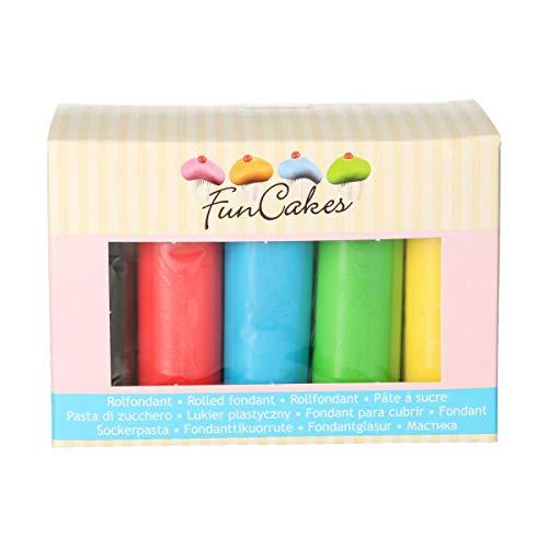 FunCakes Fondant Multipack Colores Esenciales Suave, Flexible, , Halal, Kosher y sin Gluten. 5 colores: Amarillo, Verde, Azul, Rojo, Negro. 5 x 100 g