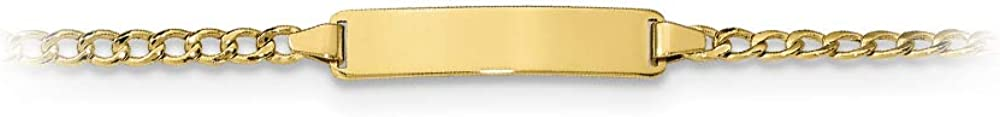 10k Yellow Gold Semi-solid Curb Link ID Bracelet 5.5 inches Free Engraving and Gift Box
