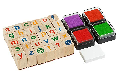 Moore: Premium Wooden Small Alphabet Stamp Set - 34 Piece Set of Lowercase Alphabet Stamps with 4 Color Ink Pads