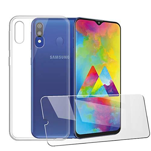 LJSM Cover per Samsung Galaxy M20 Trasparente Morbido Clear Silicone Custodia Protettivo TPU Case + [2 Pezzi] Pellicola Protettiva in Vetro Temperato per Samsung Galaxy M20 (6.3') -Clear