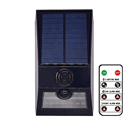 XHBH Luces de Pared solares multifunción Lámpara de Alarma Reutilizable Control Remoto Alarma de Seguridad Sirena PIR Motion Sensor Detector para el Patio de la casa al Aire Libre 4.24