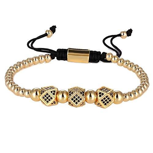 GMZPP 3 stuks/set CZ Micro pavé-parels kroon armband voor heren dames gevlochten koord ketting modesieraad geschenk maat 16-25 cm armband 1 goud