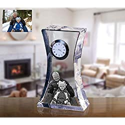 Personalized Laser Engraved Crystal Mantel Clock, Custom Anniversary Table Clock as a Unique Desk Clock, Desk Accessory or Anniversary Clock