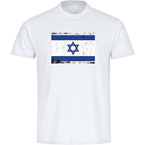 T-shirt vlag retro Israel wit heren maat S tot 3XL - grappig grappig spreuken party funshirt