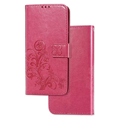 MISKQ Funda para HTC Desire 21 Pro, Soporte Plegable, Ranura para Tarjeta, Flip Phone Cover Case(Rojo)