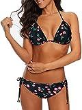 Durio, bikini da donna, push up sexy, 2 pezzi, con triangolo, reggiseno regolabile ciliegia 42
