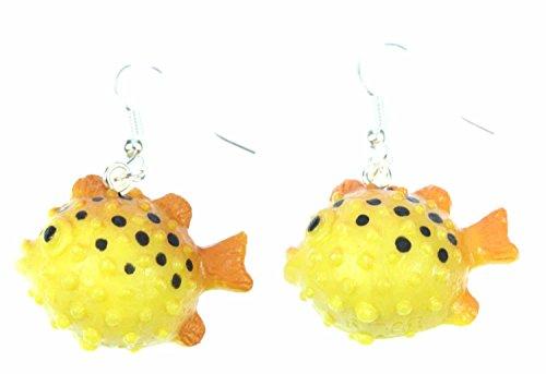 Miniblings Kugelfisch Ohrringe Kugelfische Fisch Fische Meer Aquarium gelb - Handmade Modeschmuck I Ohrhänger Ohrschmuck versilbert