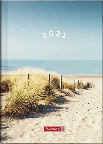 BRUNNEN 1079615021 Buchkalender Modell 796, 2 Seiten = 1 Woche, 148 x 205 mm, Grafik-Einband Strand, Kalendarium 2021