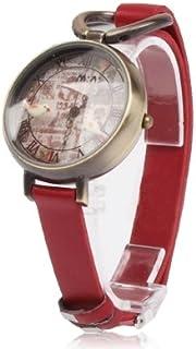 Lanbinxiang@ Retro 3D dial Bird Style Quartz Watch with PU Strap Fashion (Color : Red)