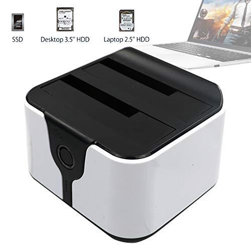 EJOYDUTY USB 3.0 USB-naar-SATA (5 GB/s) - Dubbele sleuf docking station voor externe harde schijven, station voor 2,5 / 3,5 inch SATA SSD-harde schijven, ondersteuning 2 X 6 TB, voor laptop, Ultrabook en PC